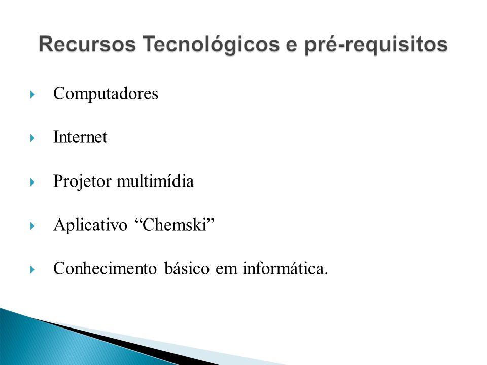 Computadores Internet Projetor multimídia Aplicativo Chemski Conhecimento básico em informática.