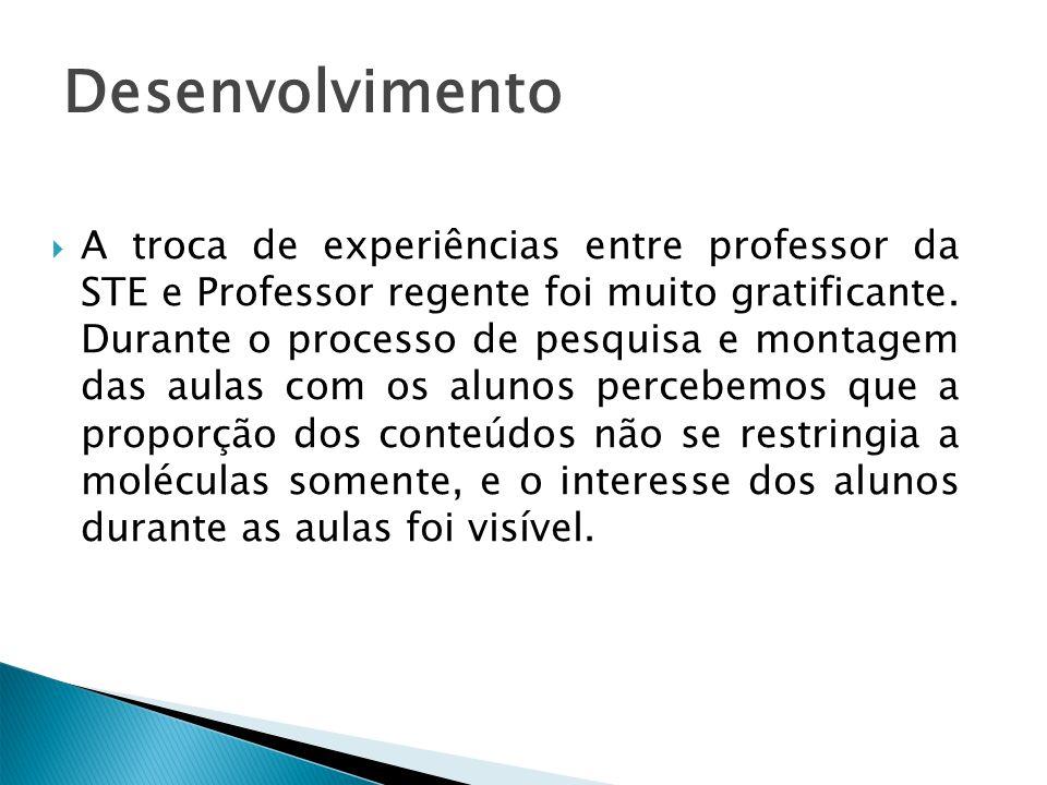 Desenvolvimento A troca de experiências entre professor da STE e Professor regente foi muito gratificante. Durante o processo de pesquisa e montagem d