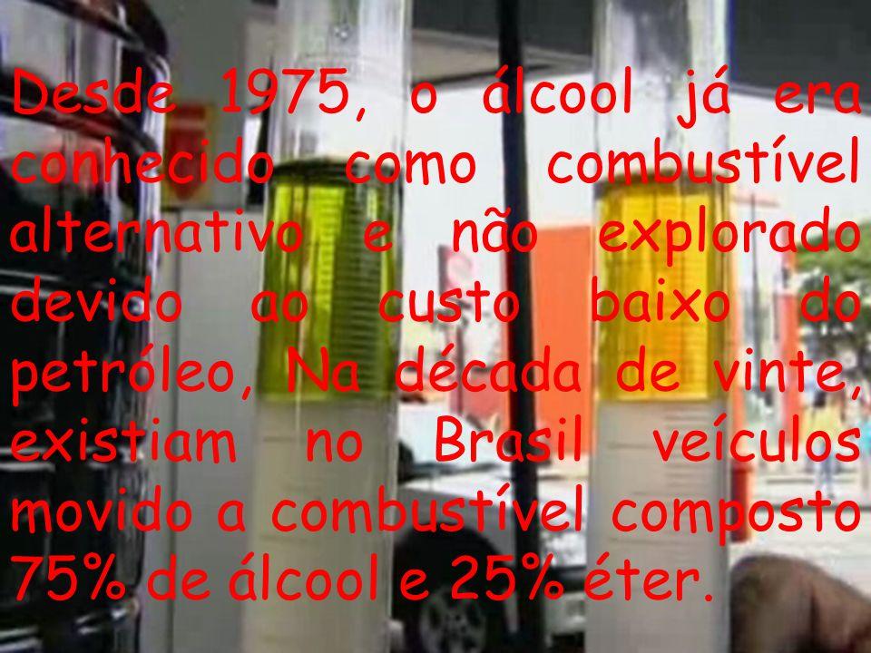 Desde 1975, o álcool já era conhecido como combustível alternativo e não explorado devido ao custo baixo do petróleo, Na década de vinte, existiam no