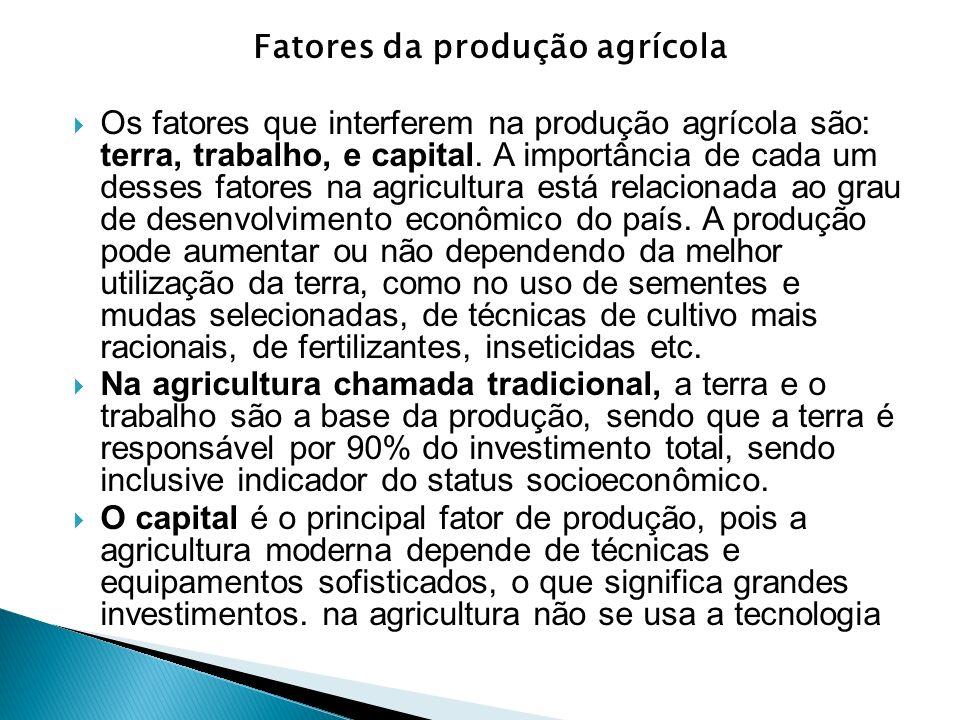 Fatores da produção agrícola Os fatores que interferem na produção agrícola são: terra, trabalho, e capital. A importância de cada um desses fatores n