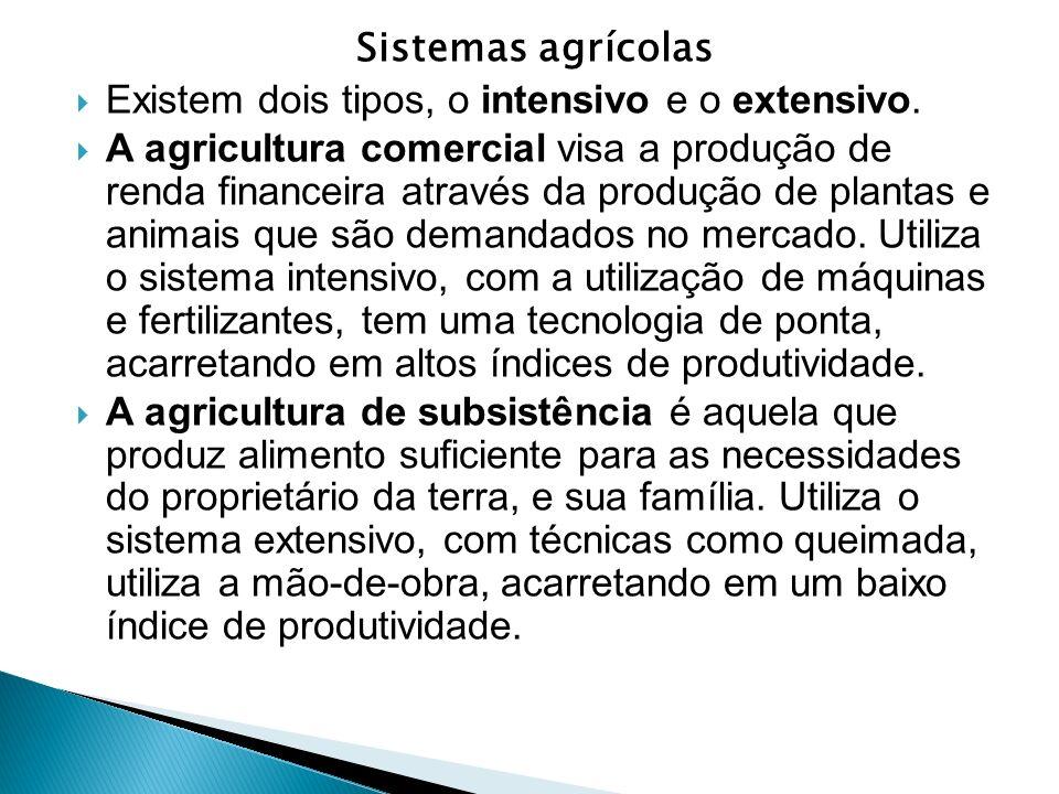 Sistemas agrícolas Existem dois tipos, o intensivo e o extensivo. A agricultura comercial visa a produção de renda financeira através da produção de p