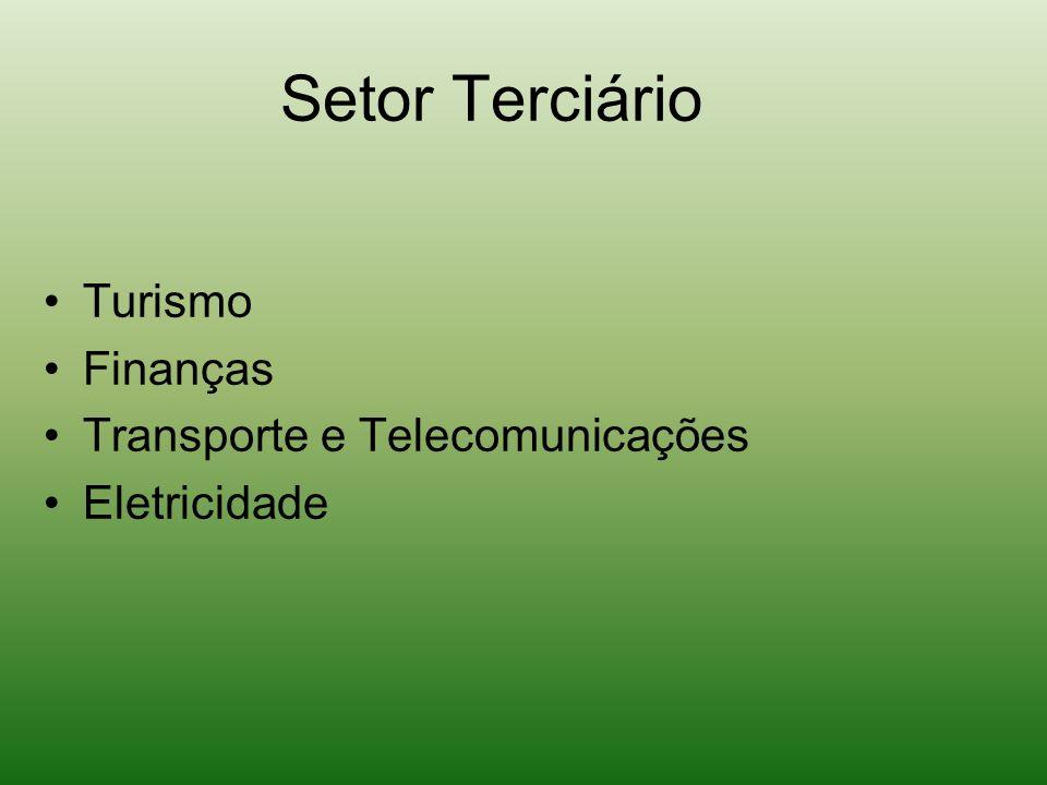 Setor Terciário Turismo Finanças Transporte e Telecomunicações Eletricidade