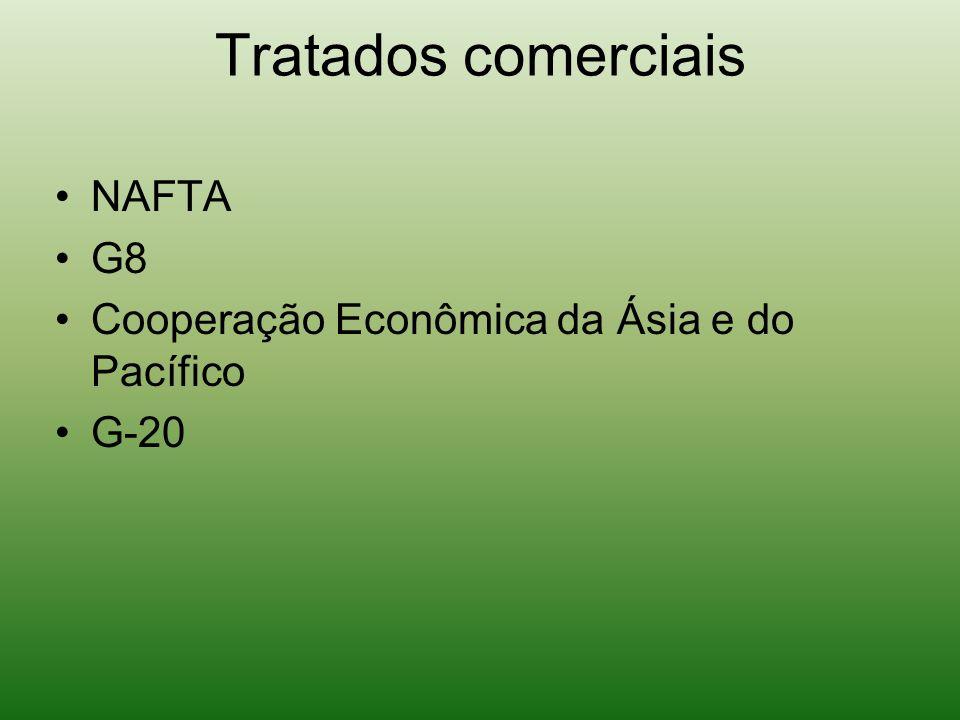 Tratados comerciais NAFTA G8 Cooperação Econômica da Ásia e do Pacífico G-20