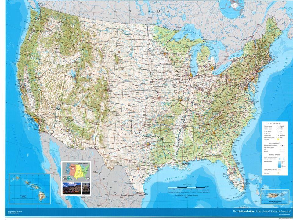 O mapa político dos EUA está dividido em três distintas dimensões: O Alasca O Havaí Estados Unidos Continental