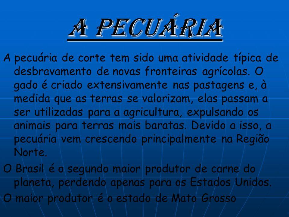 A Pecuária A pecuária de corte tem sido uma atividade típica de desbravamento de novas fronteiras agrícolas.