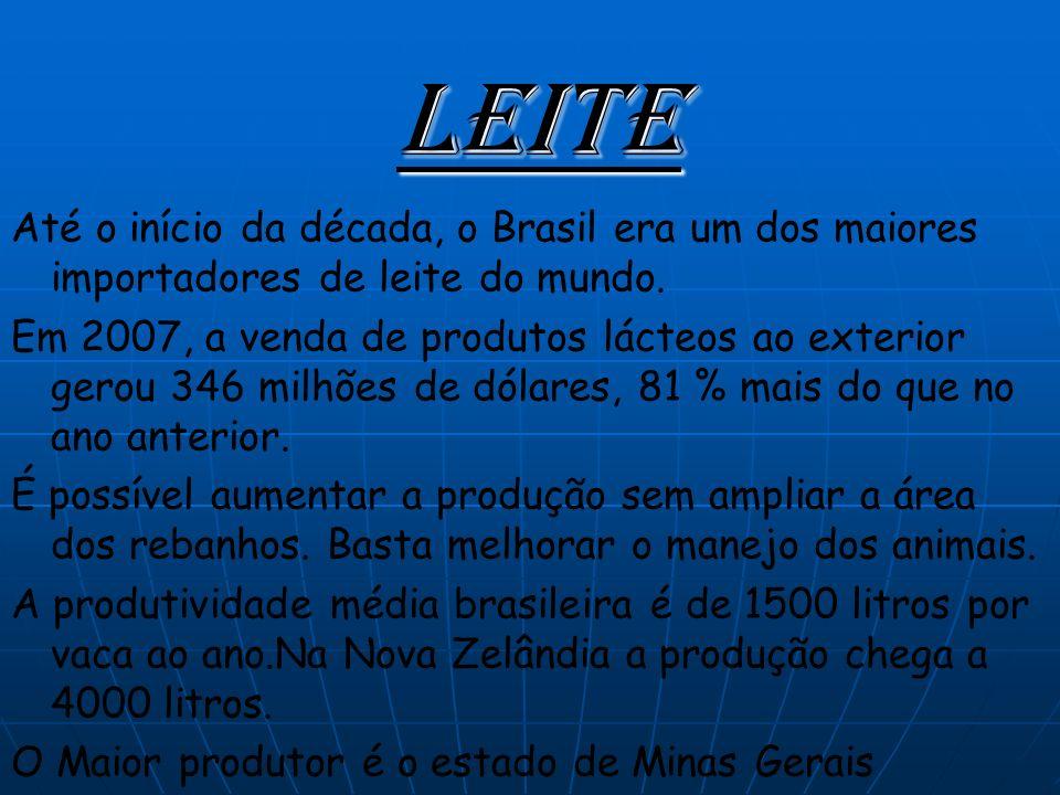 Leite Até o início da década, o Brasil era um dos maiores importadores de leite do mundo.
