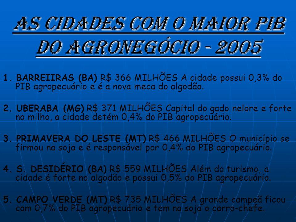 As cidades com o maior PIB do agronegócio - 2005 1.