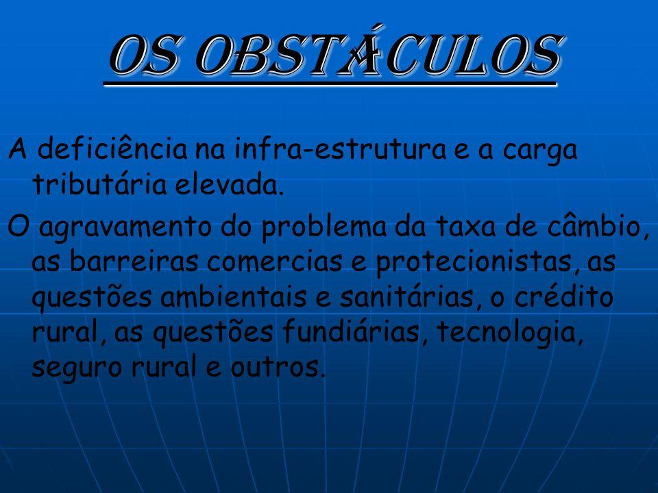 Os obstáculos A deficiência na infra-estrutura e a carga tributária elevada.