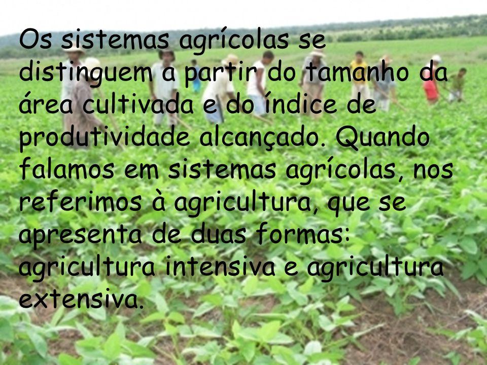 Os sistemas agrícolas se distinguem a partir do tamanho da área cultivada e do índice de produtividade alcançado. Quando falamos em sistemas agrícolas