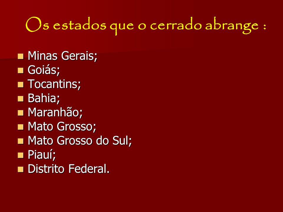 Os estados que o cerrado abrange : Minas Gerais; Minas Gerais; Goiás; Goiás; Tocantins; Tocantins; Bahia; Bahia; Maranhão; Maranhão; Mato Grosso; Mato
