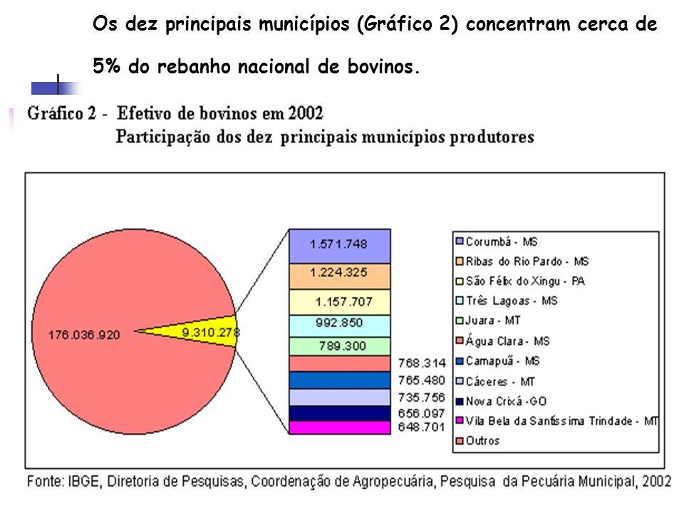 Os dez principais municípios (Gráfico 2) concentram cerca de 5% do rebanho nacional de bovinos.