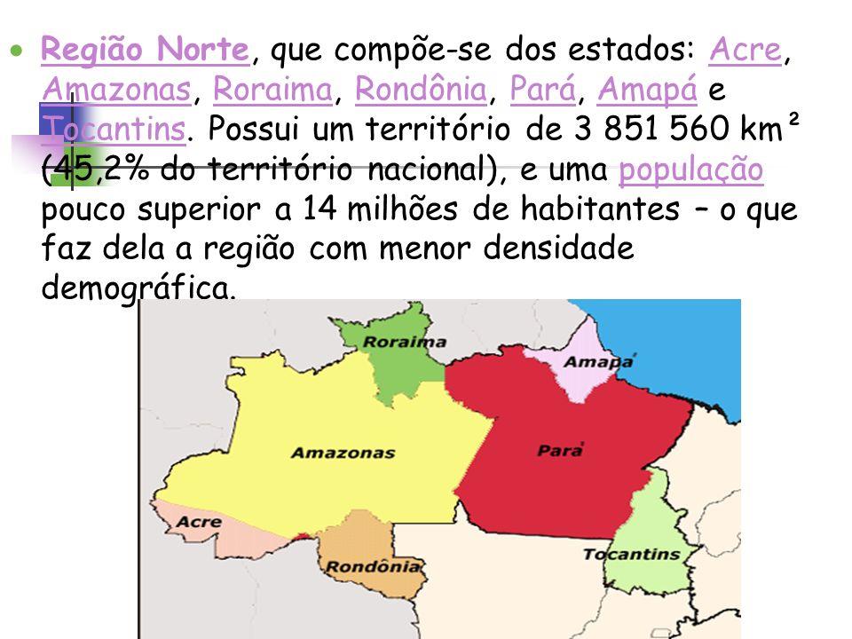 Região Norte, que compõe-se dos estados: Acre, Amazonas, Roraima, Rondônia, Pará, Amapá e Tocantins. Possui um território de 3 851 560 km² (45,2% do t