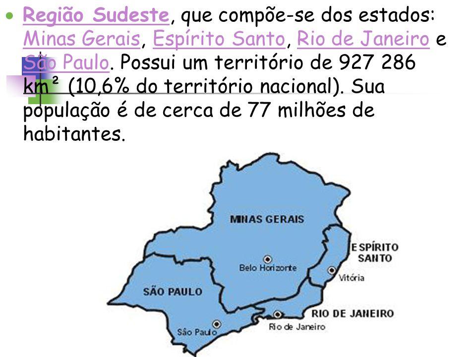 Região Sudeste, que compõe-se dos estados: Minas Gerais, Espírito Santo, Rio de Janeiro e São Paulo. Possui um território de 927 286 km² (10,6% do ter