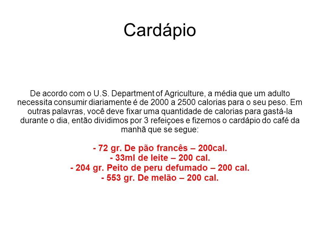 Cardápio De acordo com o U.S. Department of Agriculture, a média que um adulto necessita consumir diariamente é de 2000 a 2500 calorias para o seu pes