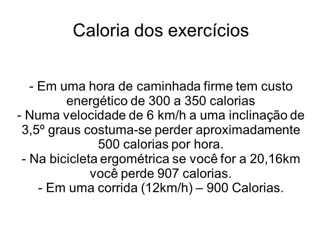 Caloria dos exercícios - Em uma hora de caminhada firme tem custo energético de 300 a 350 calorias - Numa velocidade de 6 km/h a uma inclinação de 3,5º graus costuma-se perder aproximadamente 500 calorias por hora.