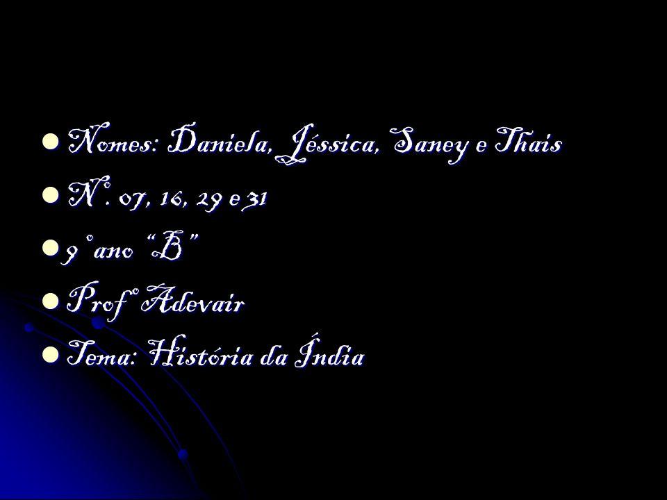 Nomes: Daniela, Jéssica, Saney e Thais Nomes: Daniela, Jéssica, Saney e Thais Nº. 07, 16, 29 e 31 Nº. 07, 16, 29 e 31 9º ano B 9º ano B Profº Adevair