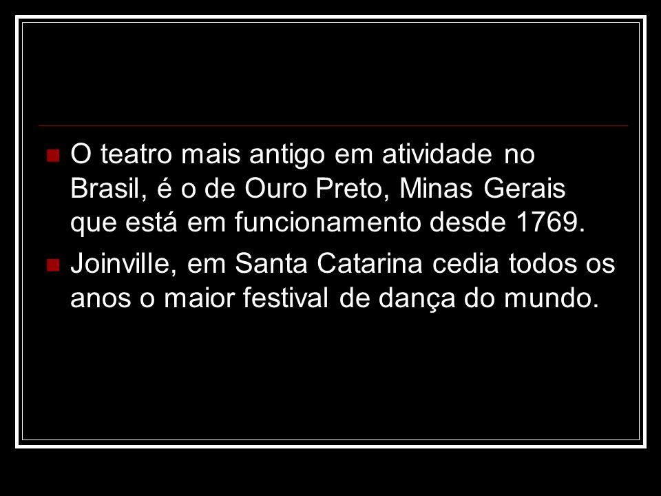 O teatro mais antigo em atividade no Brasil, é o de Ouro Preto, Minas Gerais que está em funcionamento desde 1769. Joinville, em Santa Catarina cedia