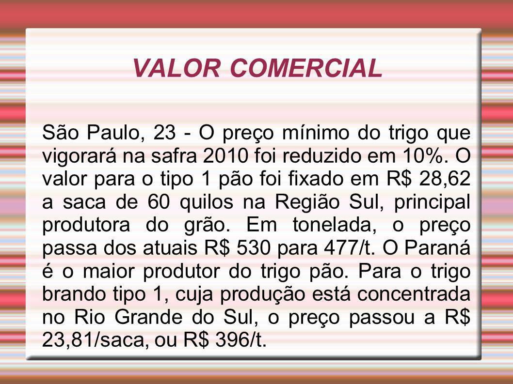 VALOR COMERCIAL São Paulo, 23 - O preço mínimo do trigo que vigorará na safra 2010 foi reduzido em 10%.
