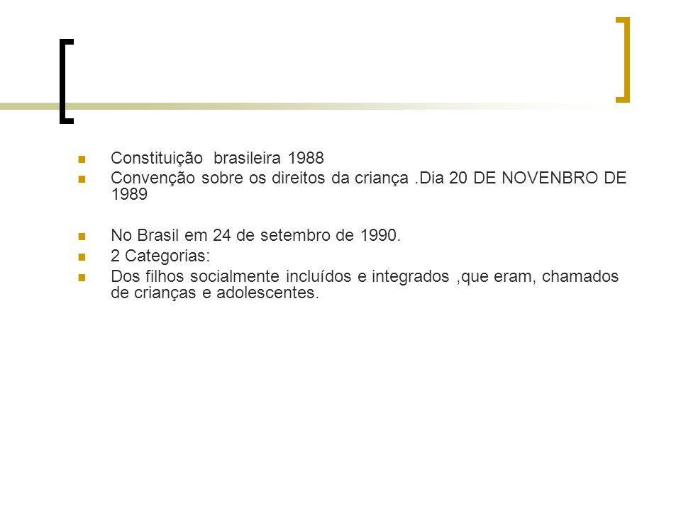 Constituição brasileira 1988 Convenção sobre os direitos da criança.Dia 20 DE NOVENBRO DE 1989 No Brasil em 24 de setembro de 1990.