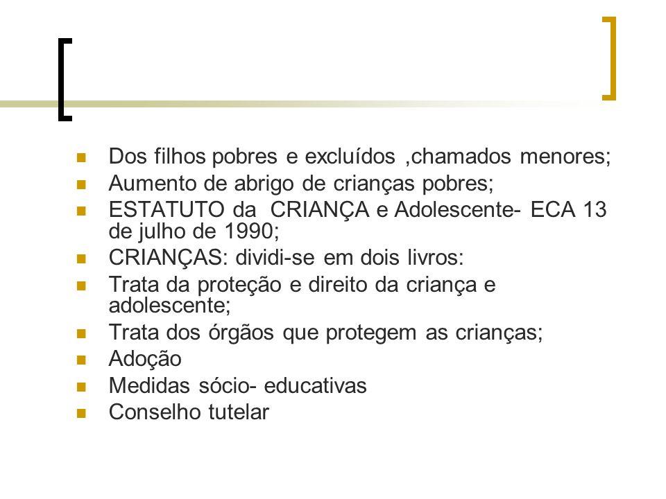 Dos filhos pobres e excluídos,chamados menores; Aumento de abrigo de crianças pobres; ESTATUTO da CRIANÇA e Adolescente- ECA 13 de julho de 1990; CRIA