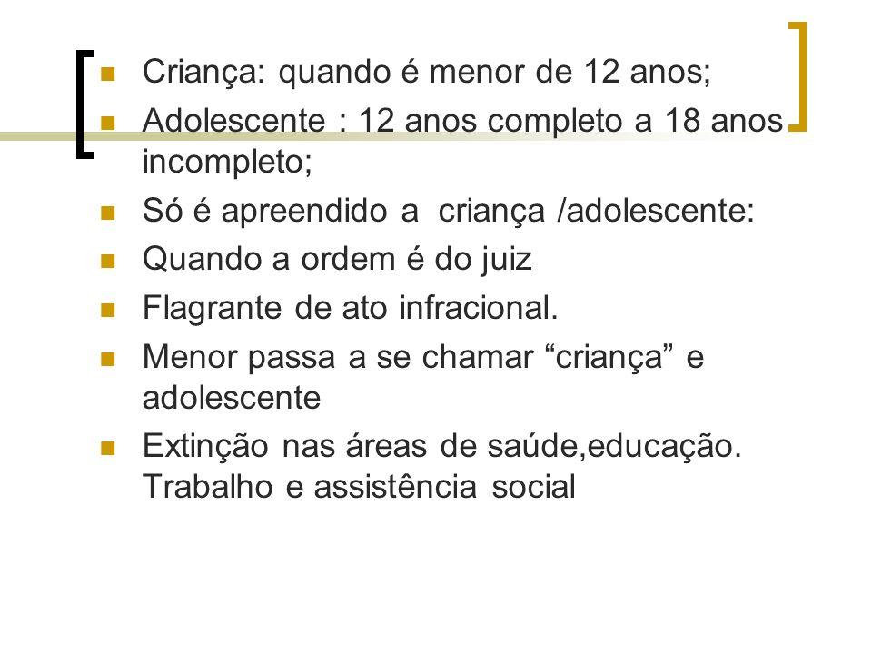 Criança: quando é menor de 12 anos; Adolescente : 12 anos completo a 18 anos incompleto; Só é apreendido a criança /adolescente: Quando a ordem é do j