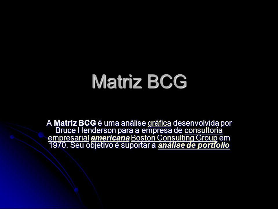 Matriz BCG A Matriz BCG é uma análise gráfica desenvolvida por Bruce Henderson para a empresa de consultoria empresarial americana Boston Consulting Group em 1970.