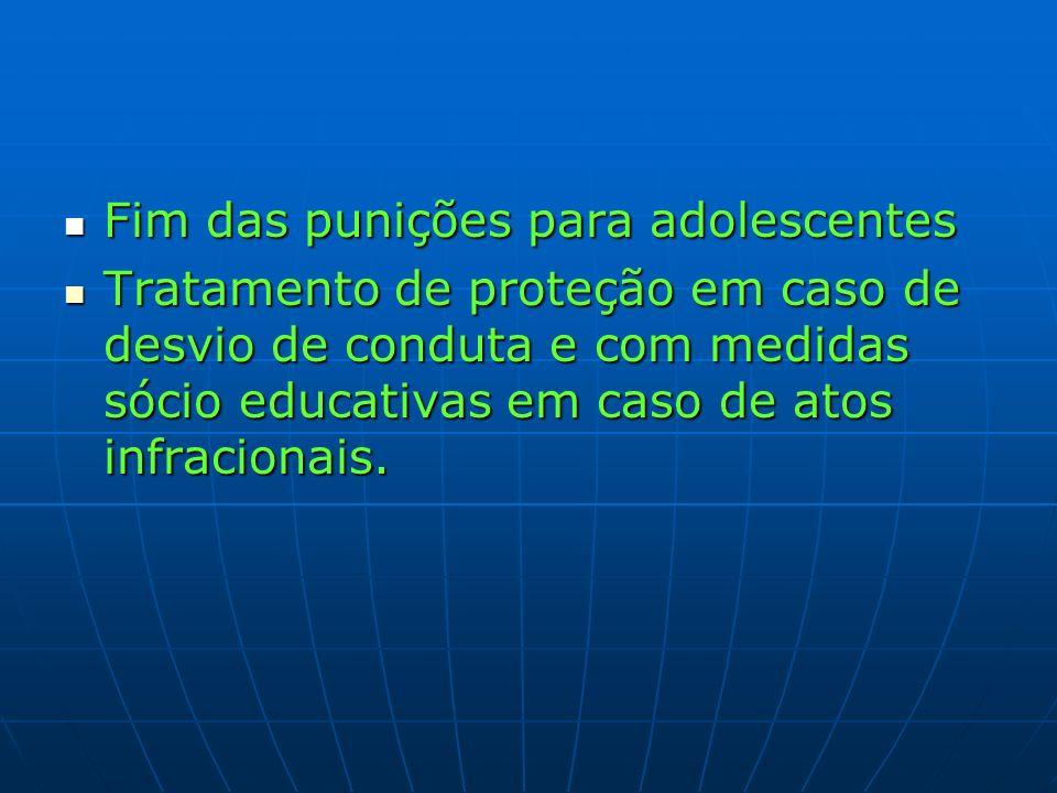 Fim das punições para adolescentes Fim das punições para adolescentes Tratamento de proteção em caso de desvio de conduta e com medidas sócio educativ