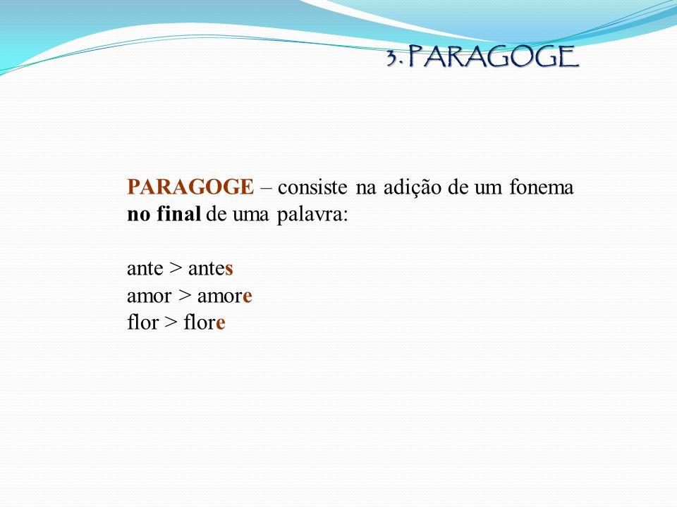 PARAGOGE – consiste na adição de um fonema no final de uma palavra: ante > antes amor > amore flor > flore 3. PARAGOGE