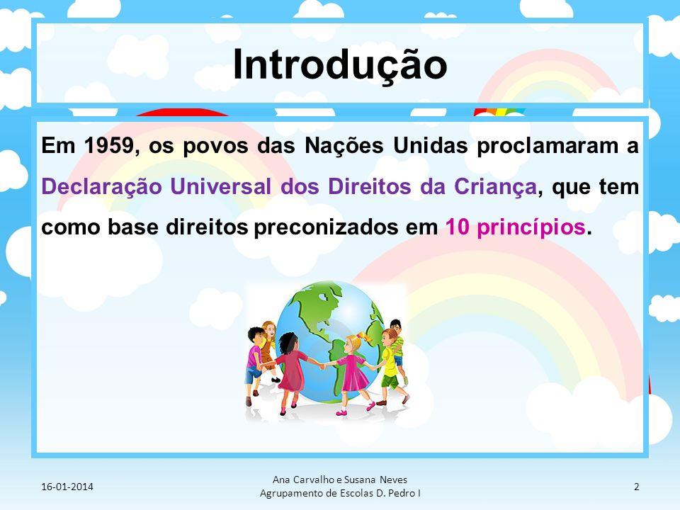 Introdução Em 1959, os povos das Nações Unidas proclamaram a Declaração Universal dos Direitos da Criança, que tem como base direitos preconizados em