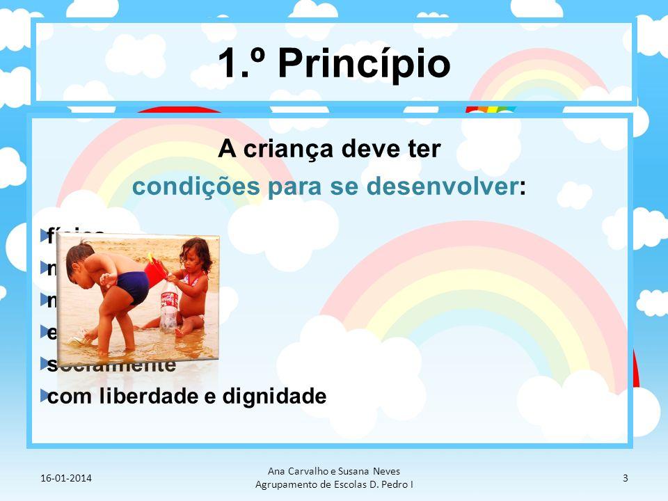 1.º Princípio A criança deve ter condições para se desenvolver: física mental moral espiritual socialmente com liberdade e dignidade 16-01-2014 Ana Ca