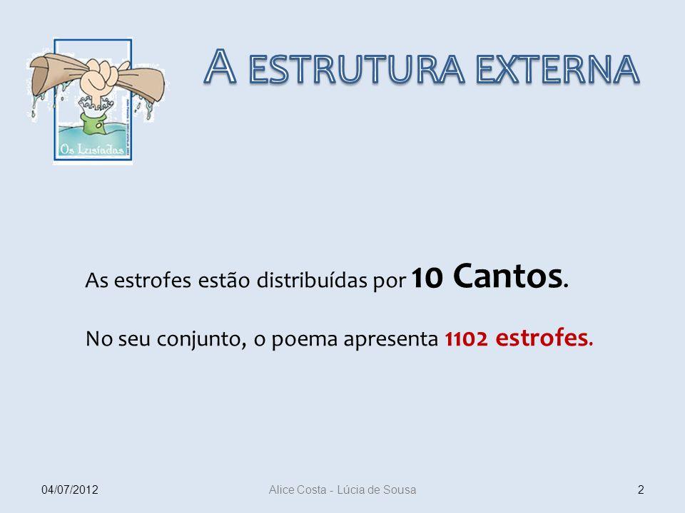 As estrofes estão distribuídas por 10 Cantos. No seu conjunto, o poema apresenta 1102 estrofes. 204/07/2012 Alice Costa - Lúcia de Sousa