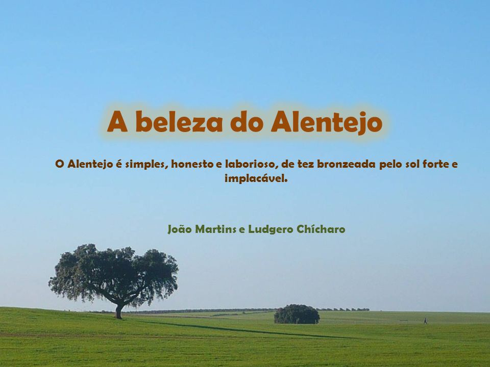 João Martins e Ludgero Chícharo O Alentejo é simples, honesto e laborioso, de tez bronzeada pelo sol forte e implacável.