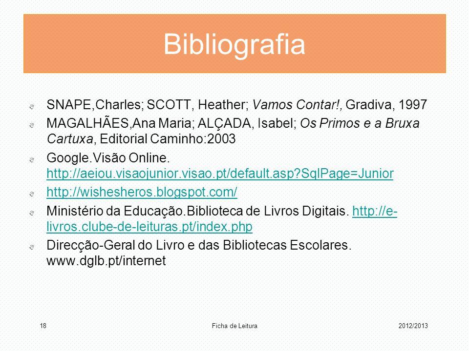Bibliografia SNAPE,Charles; SCOTT, Heather; Vamos Contar!, Gradiva, 1997 MAGALHÃES,Ana Maria; ALÇADA, Isabel; Os Primos e a Bruxa Cartuxa, Editorial C
