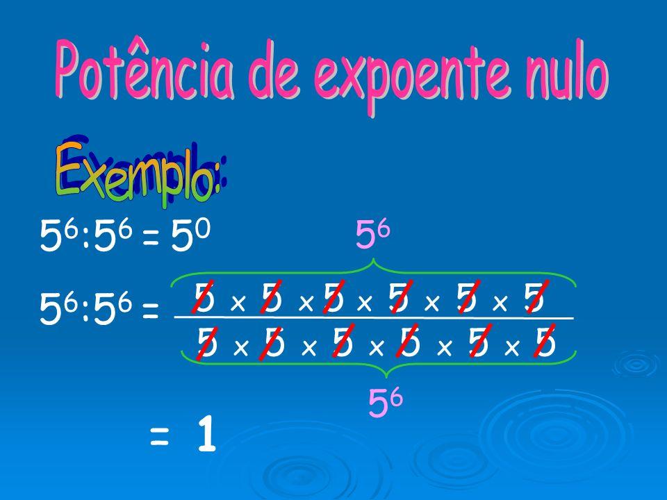 Então, a b n Para dividir potências com o mesmo expoente, dá-se o mesmo expoente e dividem-se as bases: a n : b n = 18 6 : 3 6 = = 6 6 18 3 6
