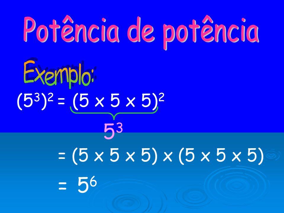 (5 3 ) 2 = (5 x 5 x 5) 2 5353 = 56= 56 = (5 x 5 x 5) x (5 x 5 x 5)