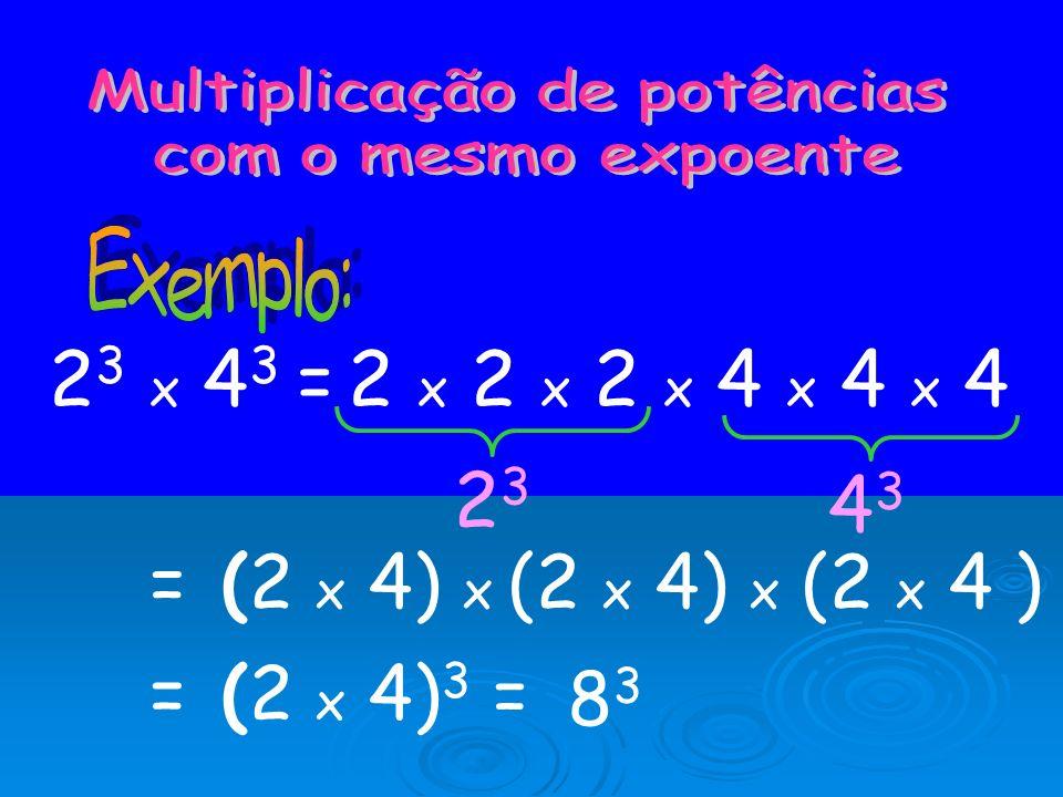 Para dividir potências com a mesma base, mantém-se a base e subtraem-se os expoentes: a n : a m = a n - m Então, 3 6 : 3 2 = 3 6 - 2 = 3 4