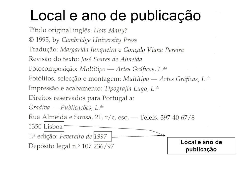 Local e ano de publicação Local e ano de publicação
