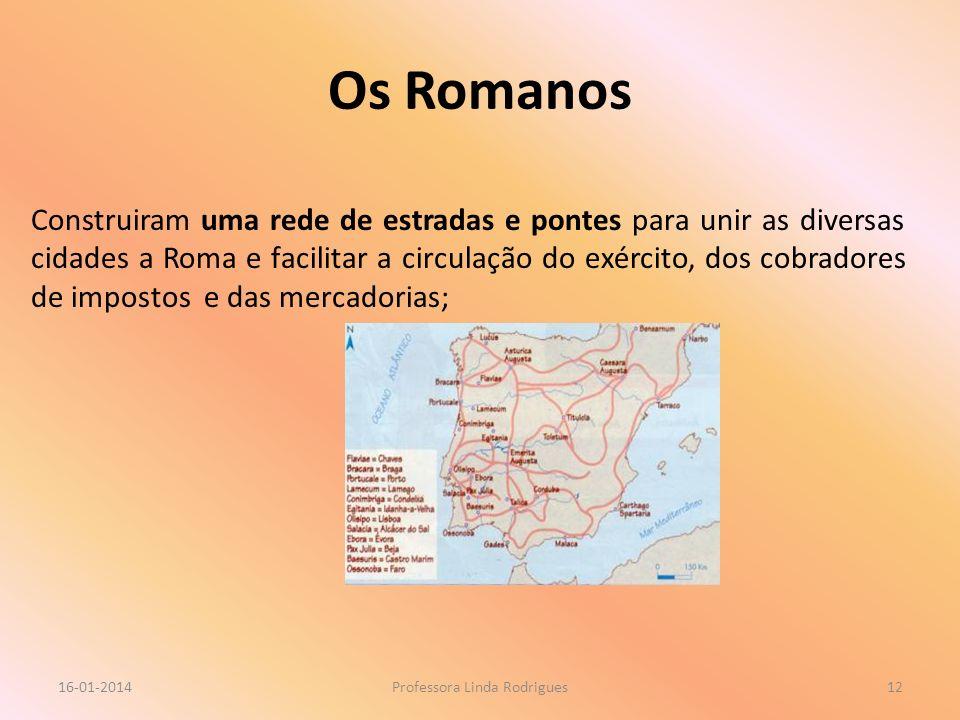 Os Romanos 16-01-2014Professora Linda Rodrigues12 Construiram uma rede de estradas e pontes para unir as diversas cidades a Roma e facilitar a circula