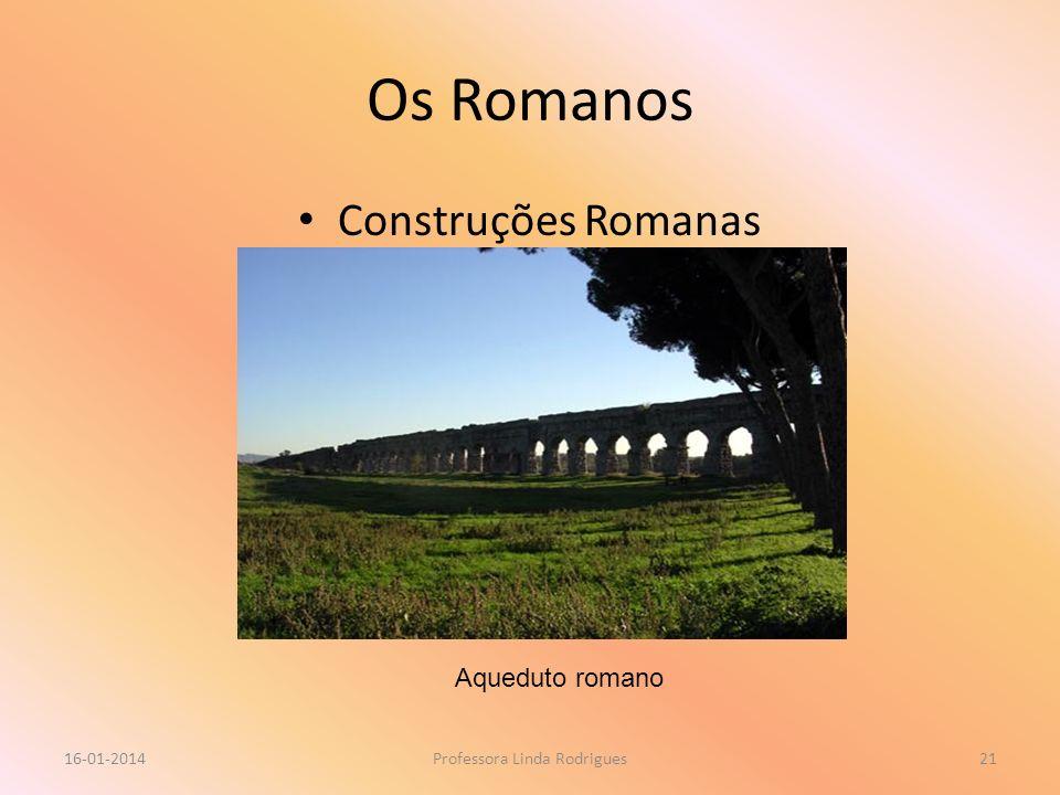 Os Romanos Construções Romanas 16-01-2014Professora Linda Rodrigues21 Aqueduto romano