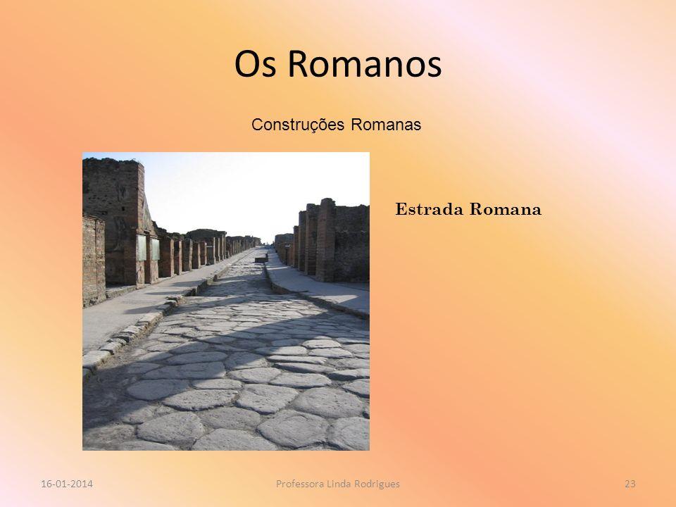 Os Romanos 16-01-2014Professora Linda Rodrigues23 Construções Romanas Estrada Romana
