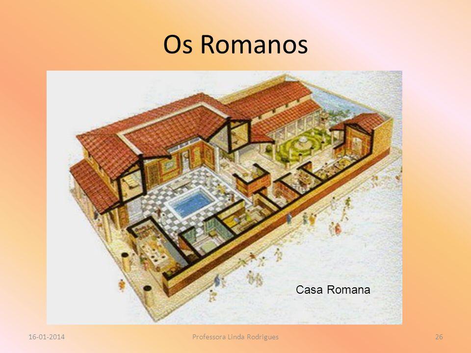 Os Romanos 16-01-2014Professora Linda Rodrigues26 Casa Romana