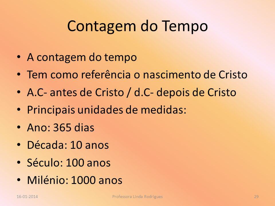 Contagem do Tempo A contagem do tempo Tem como referência o nascimento de Cristo A.C- antes de Cristo / d.C- depois de Cristo Principais unidades de m