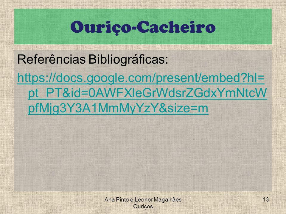 Ouriço-Cacheiro Referências Bibliográficas: https://docs.google.com/present/embed?hl= pt_PT&id=0AWFXleGrWdsrZGdxYmNtcW pfMjg3Y3A1MmMyYzY&size=m Ana Pi