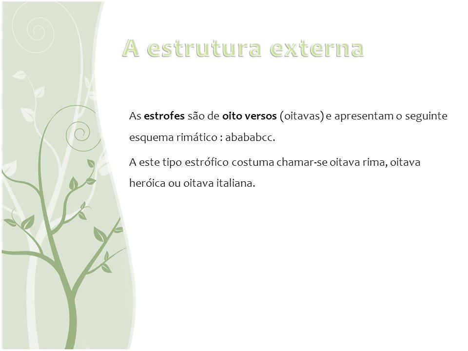As estrofes são de oito versos (oitavas) e apresentam o seguinte esquema rimático : abababcc. A este tipo estrófico costuma chamar-se oitava rima, oit