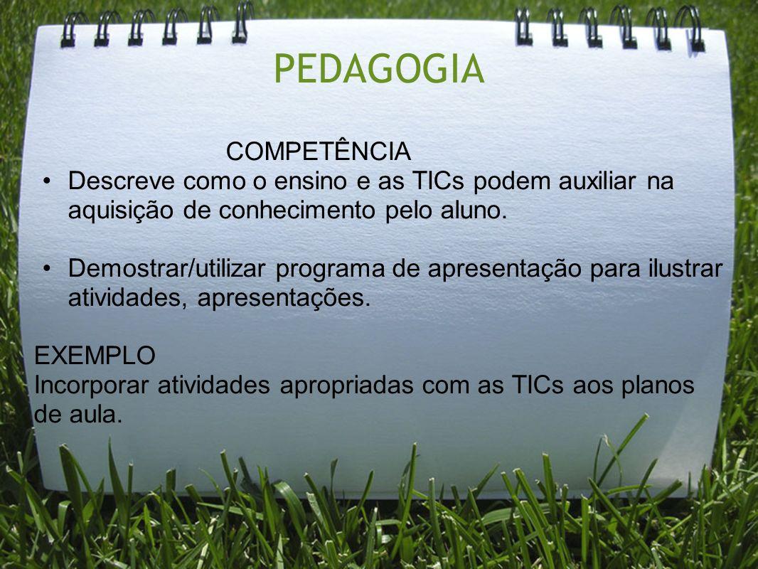 PEDAGOGIA COMPETÊNCIA Descreve como o ensino e as TICs podem auxiliar na aquisição de conhecimento pelo aluno. Demostrar/utilizar programa de apresent