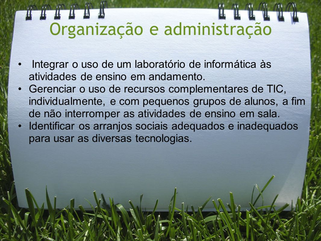 Organização e administração Integrar o uso de um laboratório de informática às atividades de ensino em andamento. Gerenciar o uso de recursos compleme