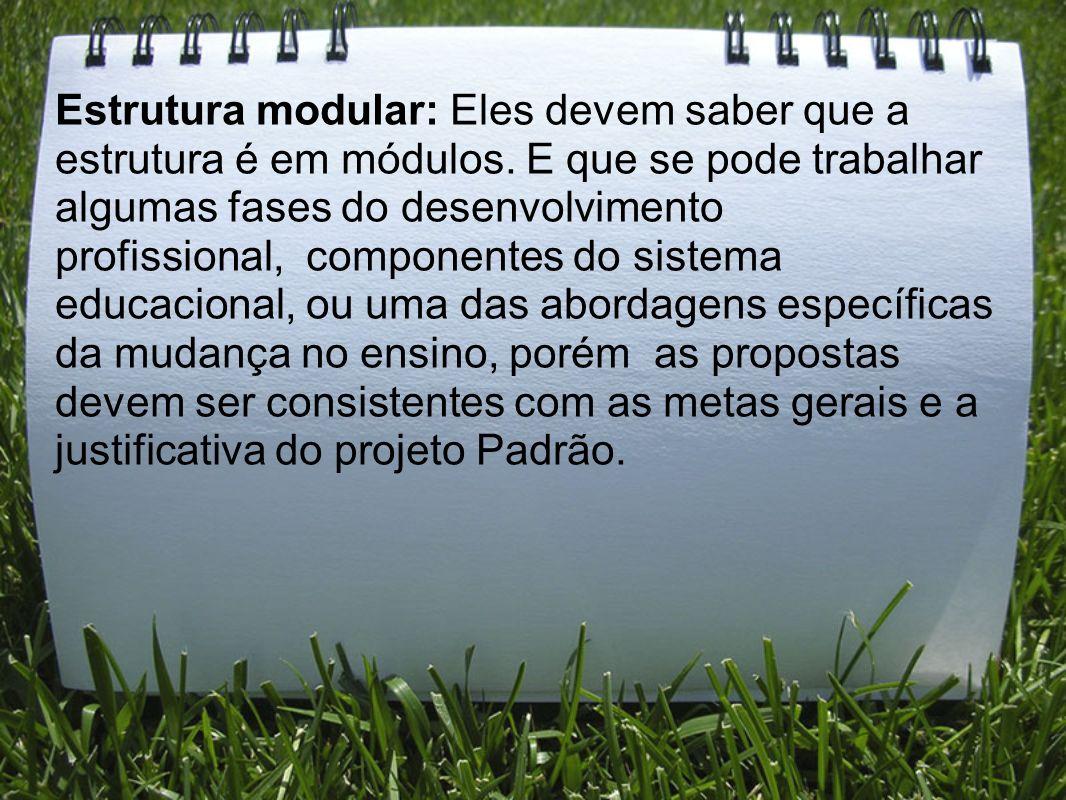 Estrutura modular: Eles devem saber que a estrutura é em módulos. E que se pode trabalhar algumas fases do desenvolvimento profissional, componentes d