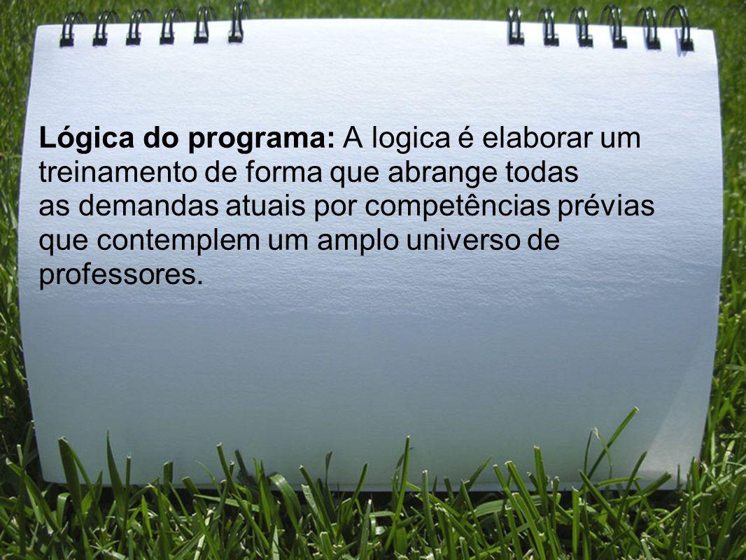 Lógica do programa: A logica é elaborar um treinamento de forma que abrange todas as demandas atuais por competências prévias que contemplem um amplo