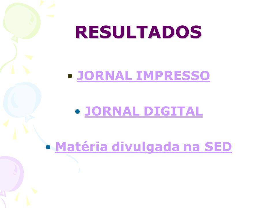 RESULTADOS JORNAL IMPRESSO JORNAL DIGITAL Matéria divulgada na SED