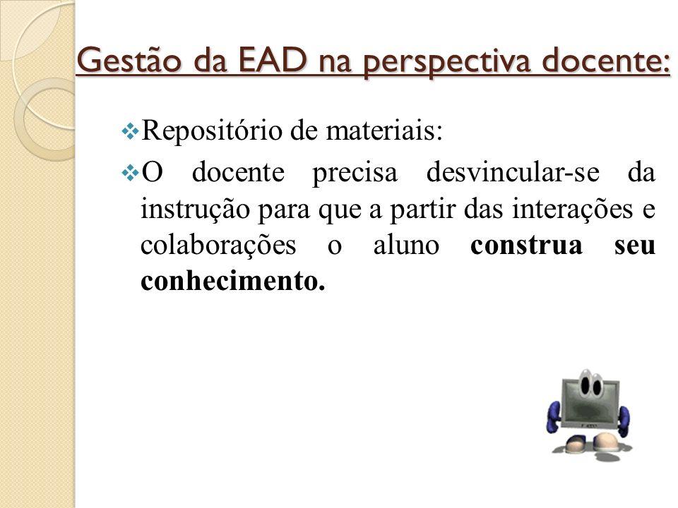 Gestão da EAD na perspectiva docente: Repositório de materiais: O docente precisa desvincular-se da instrução para que a partir das interações e colaborações o aluno construa seu conhecimento.